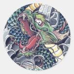 Tormenta japonesa oriental fresca del tatuaje de d etiqueta