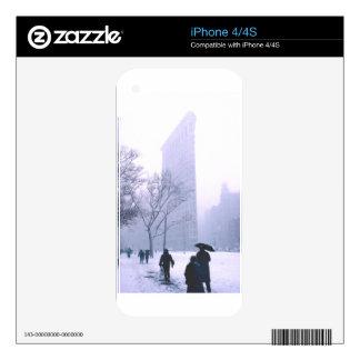 Tormenta Nueva York de la nieve del edificio de iPhone 4 Skins