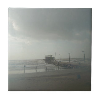 Tormenta sobre Galveston, Tx Azulejo Cuadrado Pequeño