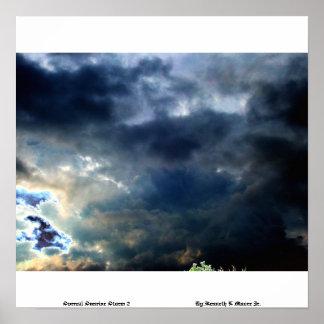 Tormenta surrealista 2 (v2) de la salida del sol p póster