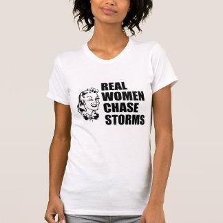 Tormentas de la caza de las mujeres reales camisetas