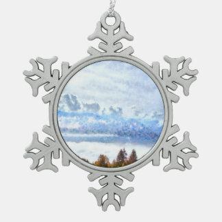 Tormentas que vienen sobre un llano silencioso adorno de peltre en forma de copo de nieve