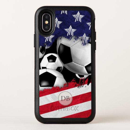 torn American flag men's soccer monogrammed OtterBox Symmetry iPhone X Case