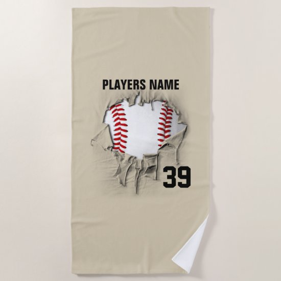 Torn Baseball Beach Towel