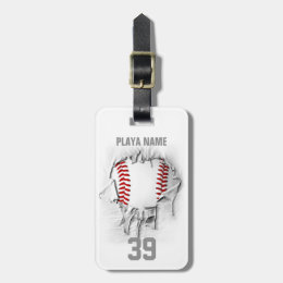 Torn Baseball (white personalized) Bag Tag
