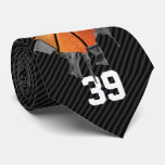Torn Basketball (dark/personalized) Tie at Zazzle