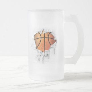 Torn Basketball Frosted Glass Beer Mug