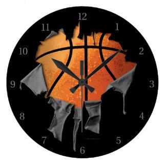 Torn Basketball Large Clock