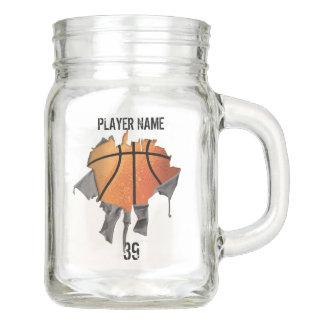 Torn Basketball (personalized) Mason Jar