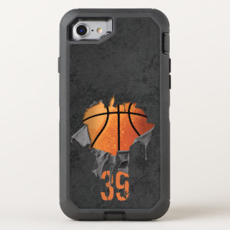 Torn Basketball (personalized) OtterBox Defender iPhone 8/7 Case