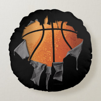 Torn Basketball Round Pillow