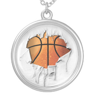 Torn Basketball Silver Plated Necklace