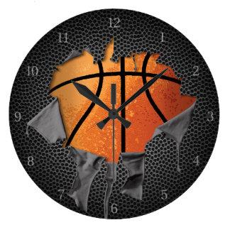 Torn Basketball (textured) Large Clock