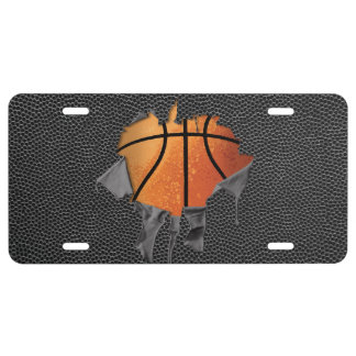 Torn Basketball (textured) License Plate