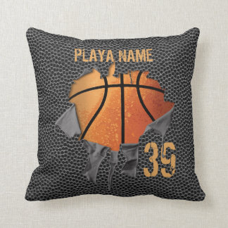Torn Basketball (textured) Throw Pillow
