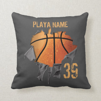 Torn Basketball Throw Pillow