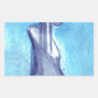 Torn by the blue sky rectangular sticker