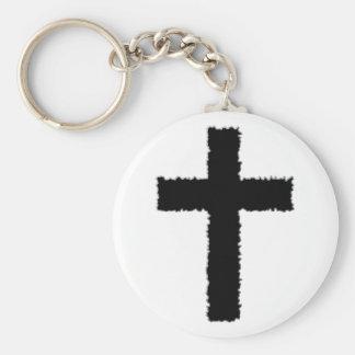 torn cross keychain