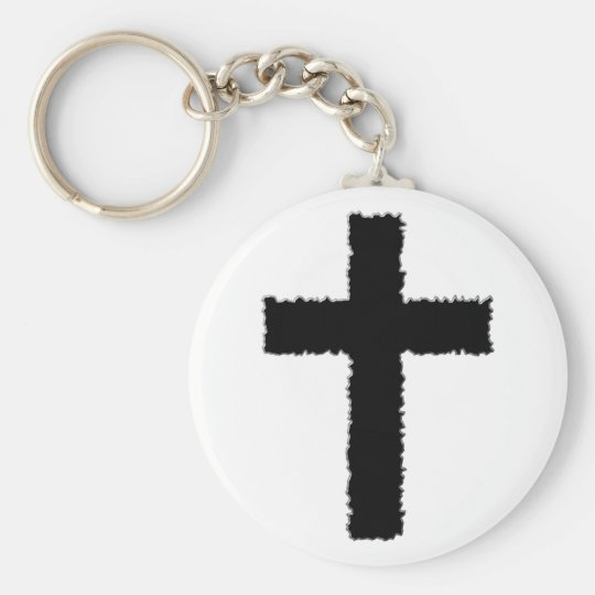 torn cross keychain