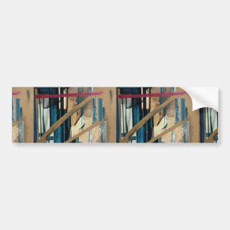 Torn curtains mixed media collage on paper bumper sticker