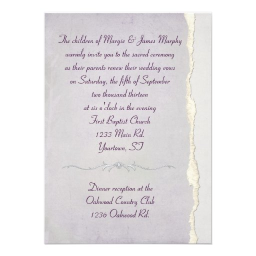 Torn Edge Lavender Wedding Vow Renewal Custom Invitations