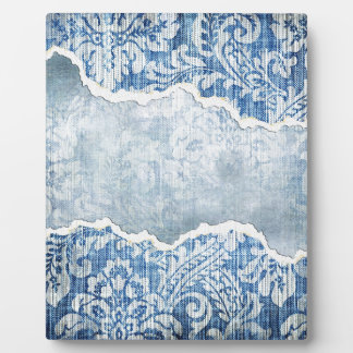 Torn Floral Blue Display Plaques