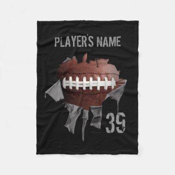 Torn Football Personalized Black Fleece Blanket by eBrushDesign at Zazzle
