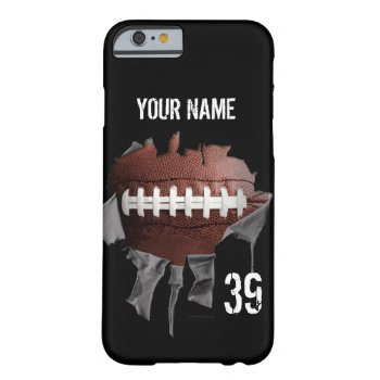 Torn Football (pesonalized) Barely There Iphone 6 Case by eBrushDesign at Zazzle