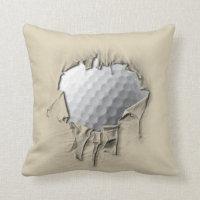 Torn Golf Ball Throw Pillow
