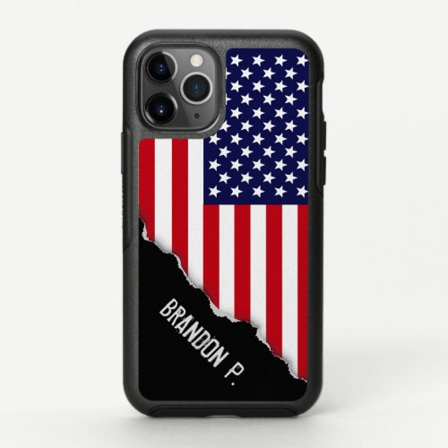 Torn Out American Flag Custom Name OtterBox Symmetry iPhone 11 Pro Case