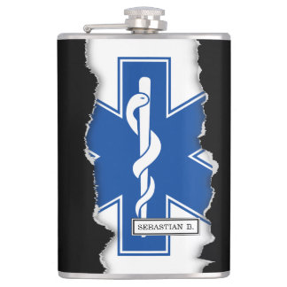 Torn Out EMT Paramedic Symbol Custom Name Hip Flask