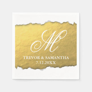Torn Out Look Faux Gold Monogram Wedding Napkin