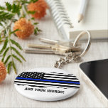 "Torn Out Look Police Flag Custom Text Keychain<br><div class=""desc"">A custom police keychain featuring a torn out police thin blue line style American flag.</div>"