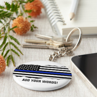 Torn Out Look Police Flag Custom Text Keychain