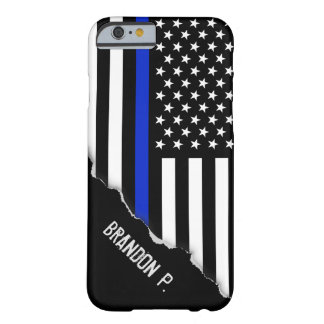 Torn Out Look Thin Blue Line American Flag Barely There iPhone 6 Case