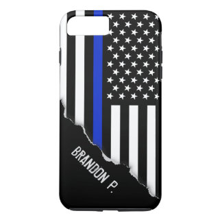 Torn Out Look Thin Blue Line American Flag iPhone 8 Plus/7 Plus Case