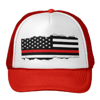 Torn Out Look Thin Red Line American Flag Trucker Hat