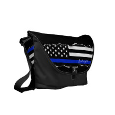Torn Out Thin Blue Line American Flag Black Messenger Bag at Zazzle