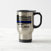 Torn Out Thin Blue Line American Flag Custom Name Travel Mug