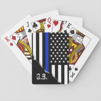 Torn Out Thin Blue Line USA Flag Custom Initials Deck Of Cards