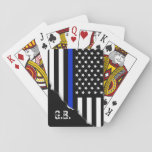 "Torn Out Thin Blue Line USA Flag Custom Initials Playing Cards<br><div class=""desc"">A set of playing cards featuring an American style thin blue line police flag along with a spot for your initials.</div>"