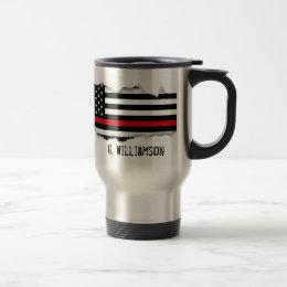 Torn Out Thin Red Line American Flag Custom Name Travel Mug