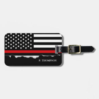 Torn Out Thin Red Line American Flag Personalized Luggage Tag