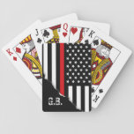"Torn Out Thin Red Line USA Flag Custom Initials Playing Cards<br><div class=""desc"">A set of playing cards featuring an American style thin red line  Symbolic firefighter flag along with a spot for your gift recipients&#39; initials.</div>"