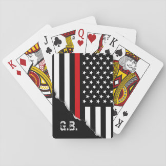 Torn Out Thin Red Line USA Flag Custom Initials Playing Cards