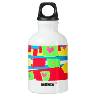 Torn Paper Collage Aluminum Water Bottle