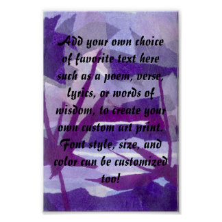 Torn paper collage background in shades of purple poster
