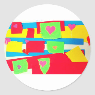 Torn Paper Collage Classic Round Sticker