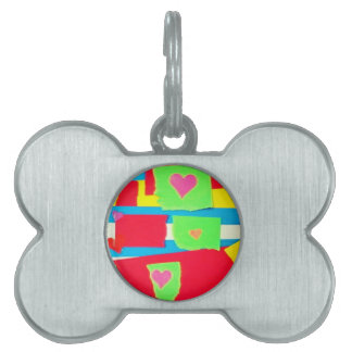 Torn Paper Collage Pet ID Tags