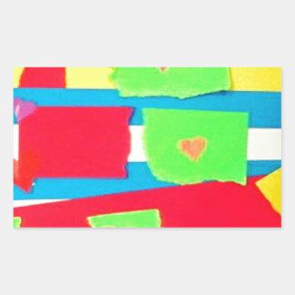 Torn Paper Collage Rectangular Sticker